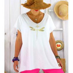T-shirt coton été femme grande taille libellule ZYGO blanc