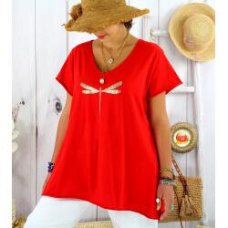 T-shirt coton été femme grande taille libellule ZYGO rouge