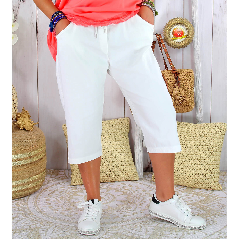 Pantacourt bermuda femme grande taille stretch DISCO blanc