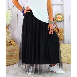 Jupe longue jupon grande taille tulle TOTEM noir
