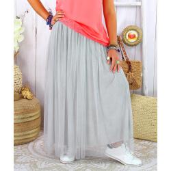 Jupe longue jupon grande taille tulle TOTEM gris