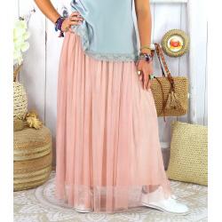Jupe longue jupon grande taille tulle TOTEM rose