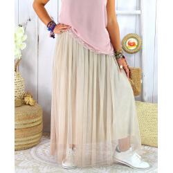 Jupe longue jupon grande taille tulle TOTEM beige Jupe femme