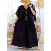 Robe longue été grande taille dentelle coton BELEM noire Robe été grande taille