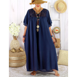 Robe longue été grande taille dentelle coton BELEM marine Robe été grande taille