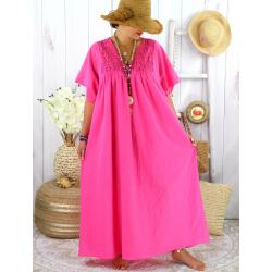 Robe longue été grande taille dentelle coton BELEM fushia Robe été grande taille