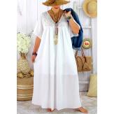 Robe longue été grande taille dentelle coton BELEM blanche Robe été grande taille