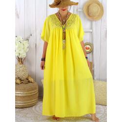 Robe longue été grande taille dentelle coton BELEM jaune