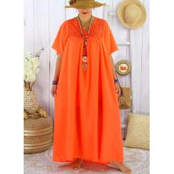 Robe longue été grande taille dentelle coton BELEM orange