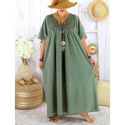 Robe longue été grande taille dentelle coton BELEM kaki
