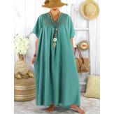 Robe longue été grande taille dentelle coton BELEM jade Robe été grande taille