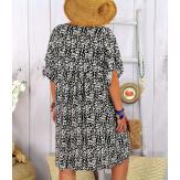 Robe tunique été grande taille liberty ELIOT noire Robe tunique femme