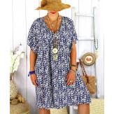 Robe tunique été grande taille liberty ELIOT marine Robe tunique femme