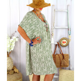 Robe tunique été grande taille liberty ELIOT kaki Robe tunique femme