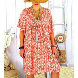 Robe tunique été grande taille liberty ELIOT corail Robe tunique femme