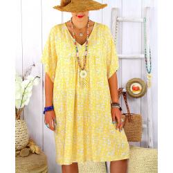 Robe tunique été grande taille liberty ELIOT jaune
