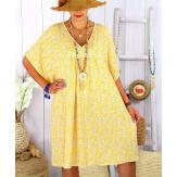 Robe tunique été grande taille liberty ELIOT jaune Robe tunique femme