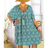 Robe tunique été grande taille liberty ELIOT vert Robe tunique femme