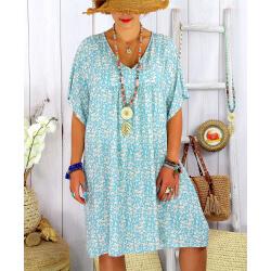 Robe tunique été grande taille liberty ELIOT Bleu clair