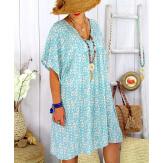Robe tunique été grande taille liberty ELIOT Bleu clair Robe tunique femme
