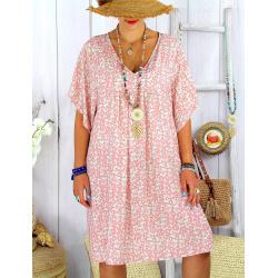 Robe tunique été grande taille liberty ELIOT Rose Robe tunique femme