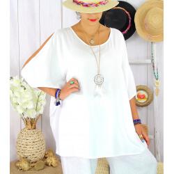 Tunique été grande taille épaules ouvertes THOMAS blanche Tunique femme grande taille