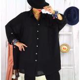 Chemise femme grande taille coton tissé VINTY noire Chemise femme grande taille