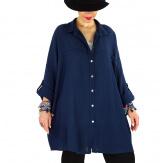 Chemise femme grande taille coton tissé VINTY marine Chemise femme grande taille