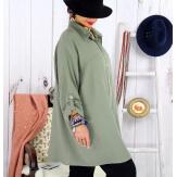 Chemise femme grande taille coton tissé VINTY kaki Chemise femme grande taille
