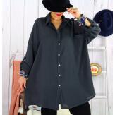 Chemise femme grande taille coton tissé VINTY gris foncé Chemise femme grande taille