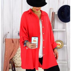 Chemise femme grande taille coton tissé VINTY rouge Chemise femme grande taille