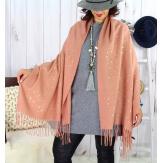 Foulard châle écharpe hiver franges rose or 2607 Accessoires mode femme