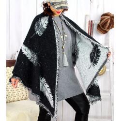 Foulard châle écharpe hiver plumes franges noir gris 2627 Accessoires mode femme