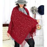 Foulard châle écharpe hiver franges bordeaux 2607 Accessoires mode femme