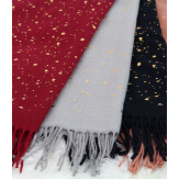 Foulard châle écharpe hiver franges gris clair 2607 Accessoires mode femme