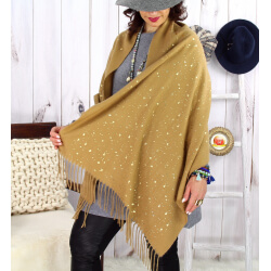 Foulard châle écharpe hiver franges camel 2607 Accessoires mode femme