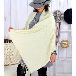 Foulard châle écharpe hiver franges beige 2607 Accessoires mode femme