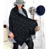 Foulard châle écharpe hiver franges noir 2607 Accessoires mode femme