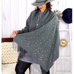 Foulard châle écharpe hiver franges gris foncé 2607 Accessoires mode femme