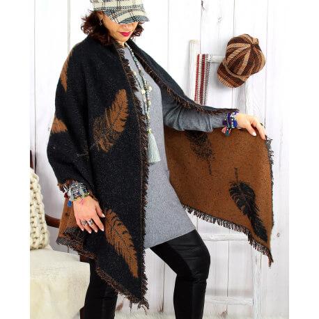 Foulard châle écharpe hiver plumes franges noir caramel 2627 Accessoires mode femme