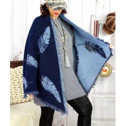 Foulard châle écharpe hiver plumes franges bleu 2627 Accessoires mode femme