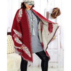 Foulard châle écharpe hiver plumes franges bordeaux 2627 Accessoires mode femme