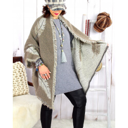 Foulard châle écharpe hiver plumes franges taupe 2627 Accessoires mode femme
