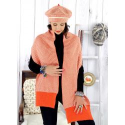 Écharpe étole femme cachemire lurex hiver orange 30AE Écharpe cachemire femme