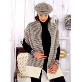 Bonnet béret femme cachemire hiver beige choco 30AB Béret femme