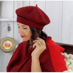 Bonnet béret femme cachemire hiver rouge 30AB Béret femme