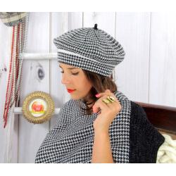 Bonnet béret femme cachemire hiver noir 30AB Béret femme