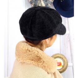 Casquette femme Gavroche laine velours noire 6511 Casquette femme