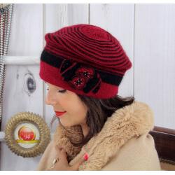 Bonnet femme hiver angora laine perles bordeaux 5151 Bonnet femme