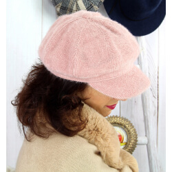Casquette femme Gavroche laine velours rose 6511 Casquette femme